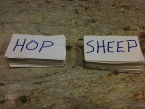 Home-made charades exercise cards